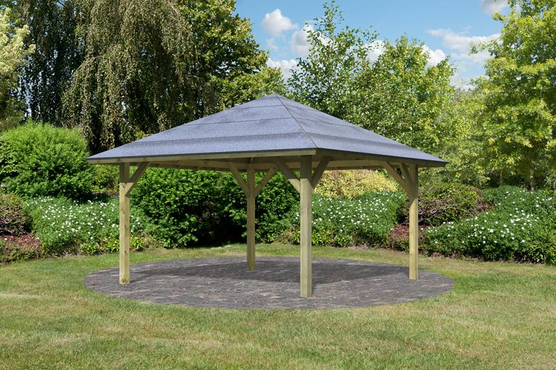 Karibu Holzpavillon Holm 1 4-Eck-Pavillon Premium - kdi