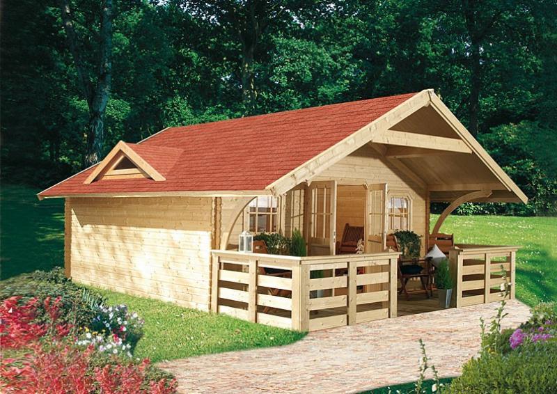 Karibu Gartenhaus Pirion 5 Satteldach 40 mm Massiv - natur