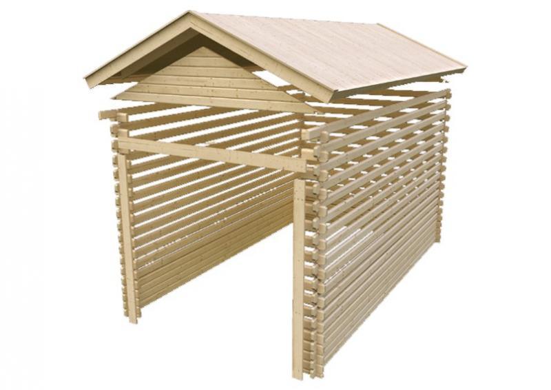 Karibu Blockbohlengarage mit Stufendach 28 mm - naturbelassen