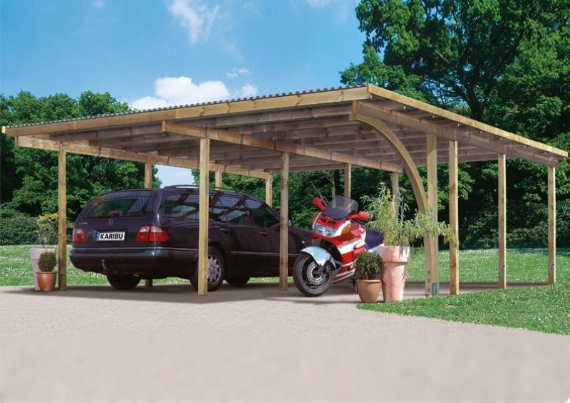 Karibu Holz Doppelcarport Eco 1 Variante A - kesseldruckimprägniert