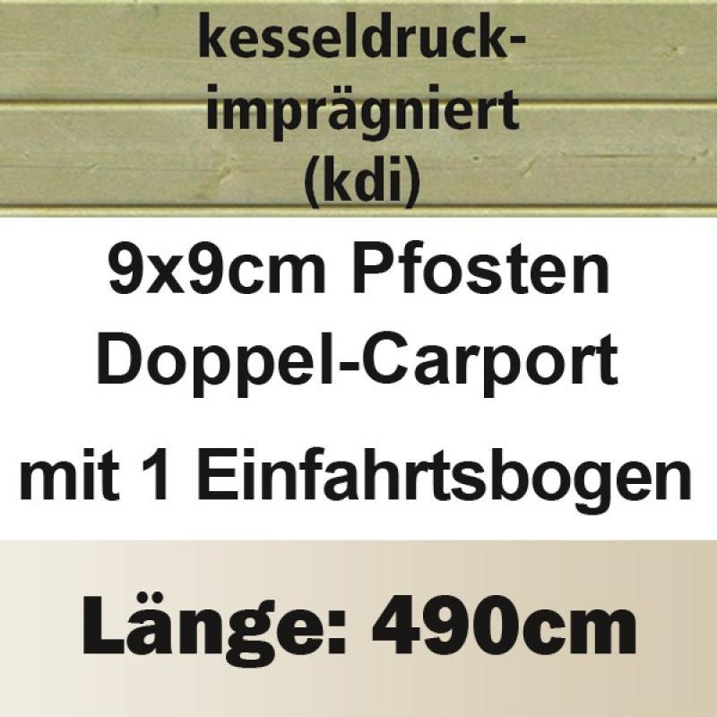 Karibu Holz Doppelcarport Eco 1 Variante B - kesseldruckimprägniert