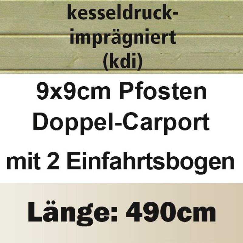 Karibu Doppelcarport Eco 1 Variante C - kesseldruckimprägniert