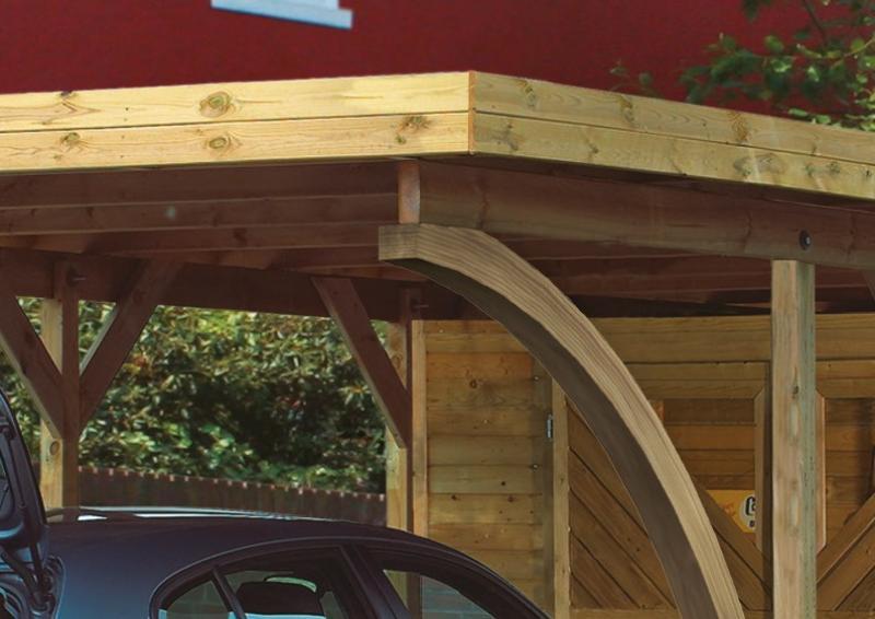 Karibu Holz Einzelcarport Classic 1 Variante B inkl. einem Einfahrtsbogen - PVC Dach