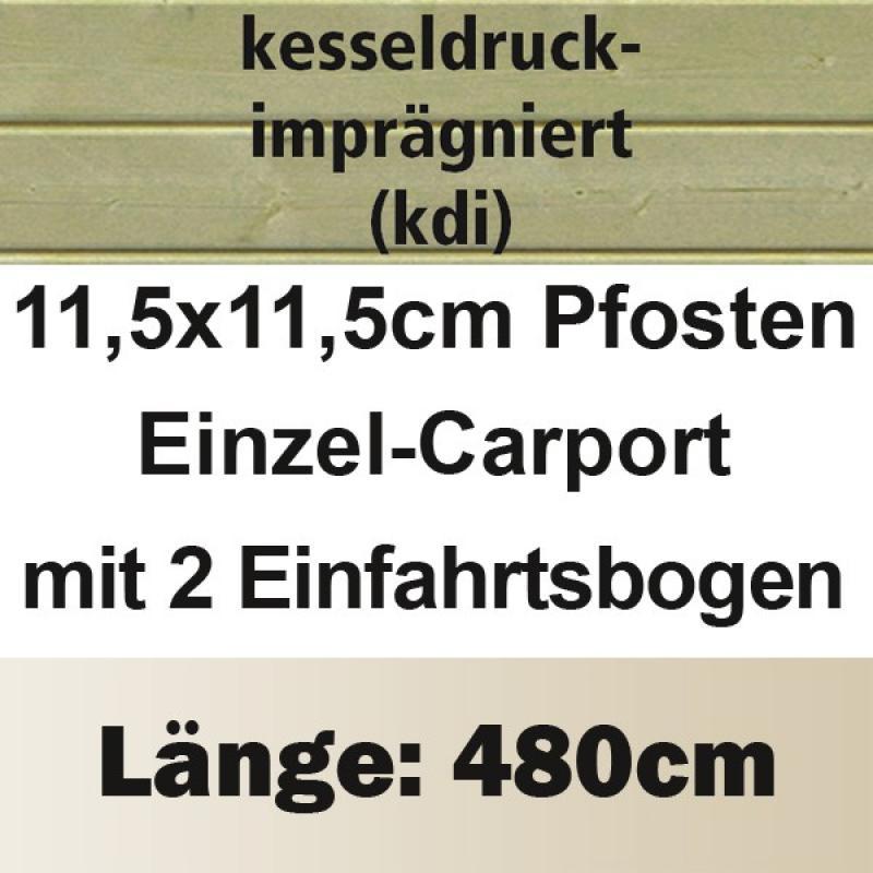 Karibu Holz Einzelcarport Classic 1 Variante C inkl. zwei Einfahrtsbögen - PVC Dach