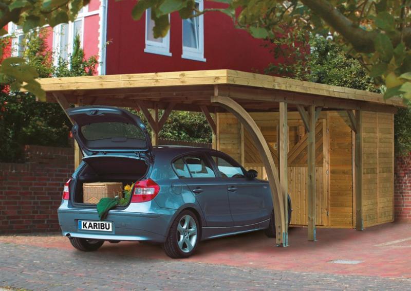 Karibu Holz Einzelcarport Classic 2 Variante C inkl. zwei Einfahrtsbögen - PVC Dach