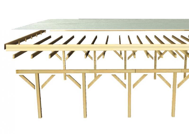 Karibu Holz Einzelcarport Classic 3 Variante B inkl. einem Einfahrtsbogen - Stahl Dach