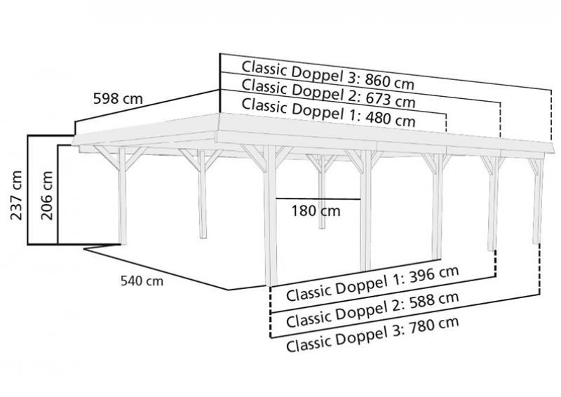 Karibu Doppelcarport Classic 1 Variante C inkl. zwei Einfahrtsbögen - Stahl Dach