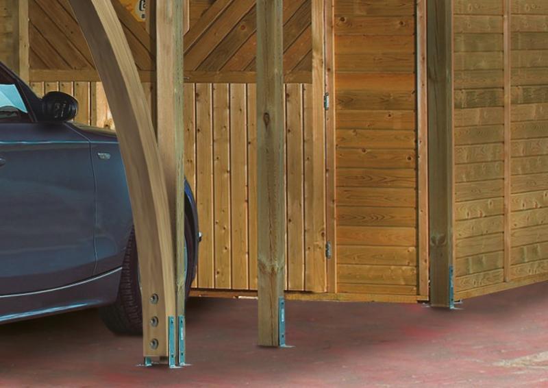 Karibu Doppelcarport Classic 2 Variante C inkl. zwei Einfahrtsbögen - Stahl Dach