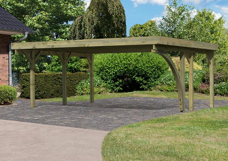 Karibu Holz Doppelcarport Classic 3 Variante B inkl. einem Einfahrtsbogen - Stahl Dach