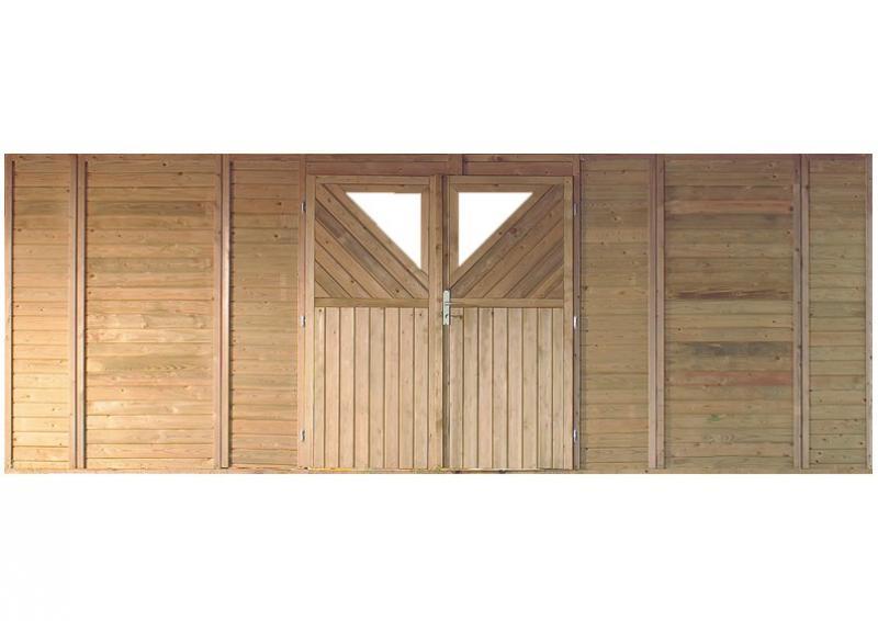 Karibu Rückwand-Element mit Doppeltür für Holz Doppelcarport