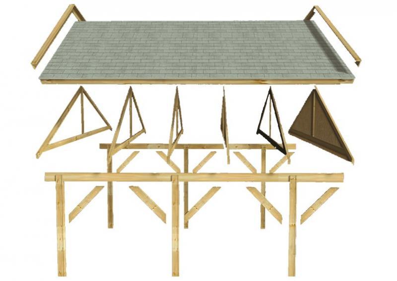 Karibu  Satteldach - Holz Einzelcarport Classic 2 - kesseldruckimprägniert