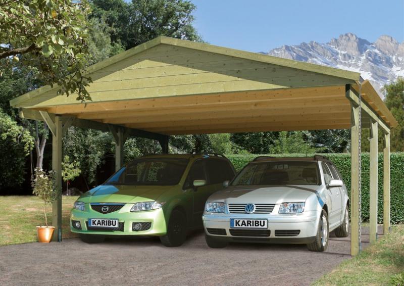 Karibu  Satteldach - Holz Doppelcarport Classic 1 - kesseldruckimprägniert