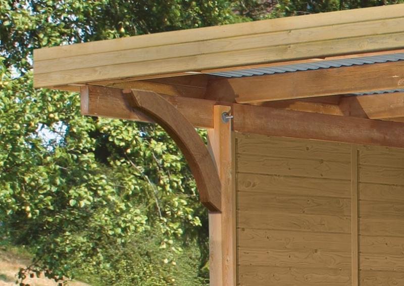 Karibu Holz Doppelcarport Premium 1 Variante B inkl. einem Einfahrtsbogen - PVC Dach