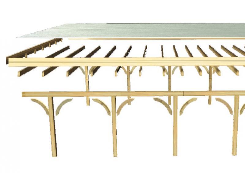 Karibu Holz Doppelcarport Premium 1 Variante C inkl. zwei Einfahrtsbögen - PVC Dach