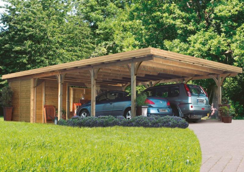 Karibu Holz Doppelcarport Premium 3 Variante B inkl. einem Einfahrtsbogen - PVC Dach