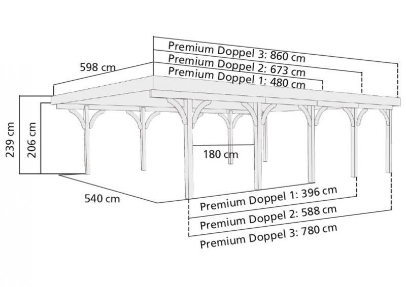 Karibu Doppelcarport Premium 3 Variante C inkl. zwei Einfahrtsbögen - PVC Dach