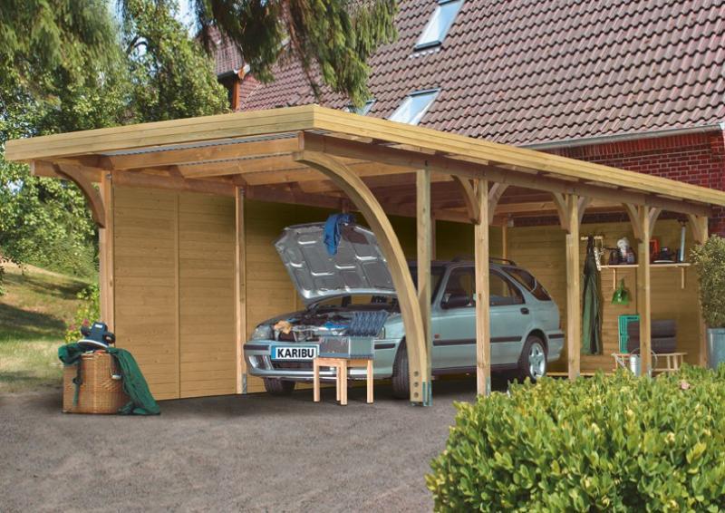 Karibu Einzelcarport Premium 1 Variante B inkl. einem Einfahrtsbogen - Stahl Dach