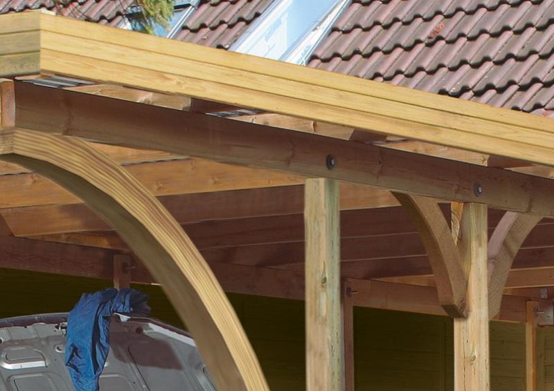 Karibu Holz Doppelcarport Premium 2 Variante B inkl. einem Einfahrtsbogen - Stahl Dach