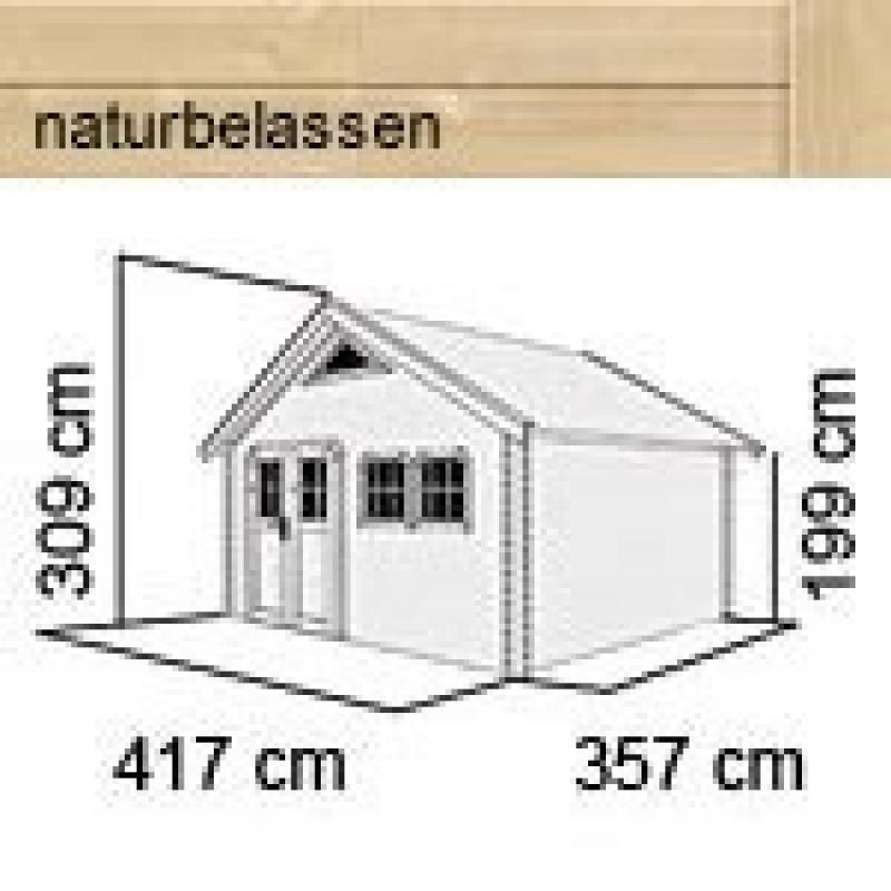 Karibu Holz-Gartenhaus Doderic 4 Satteldach 40 mm Massiv  - natur