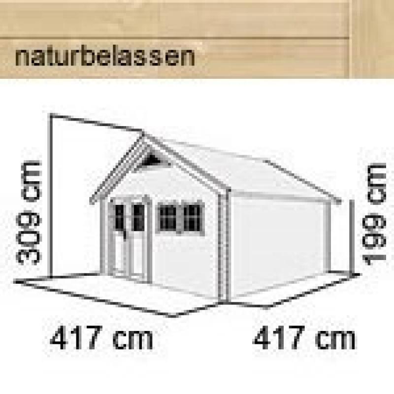 karibu gartenhaus doderic 5 satteldach 40 mm massiv natur. Black Bedroom Furniture Sets. Home Design Ideas