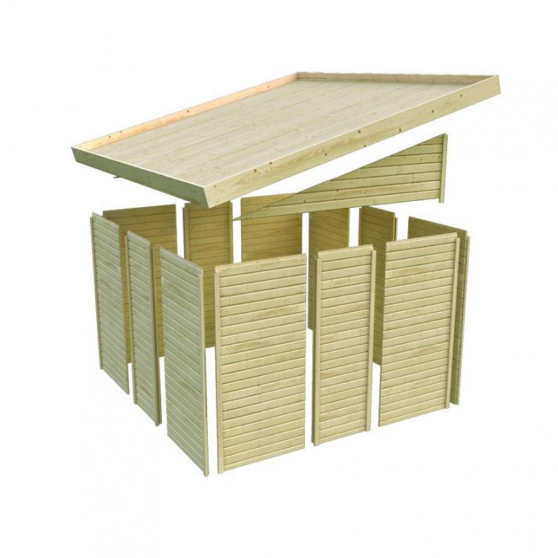 Karibu Holz-Gartenhaus Teplitz 3 - 19 mm Wandstärke Premiun Pultdachhaus - naturbelassen