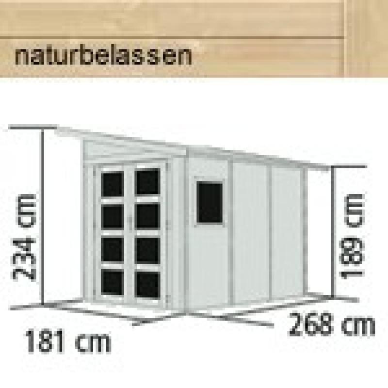 Karibu Gartenhaus Teplitz 3 - 19 mm Wandstärke Premiun Pultdachhaus - naturbelassen