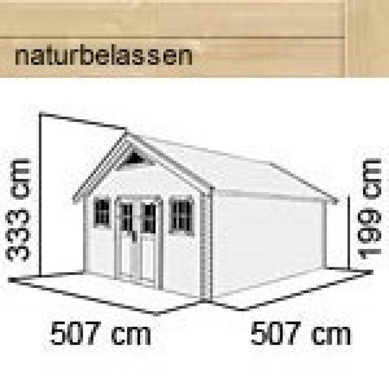 Karibu Gartenhaus Pirion 6  Satteldach 40 mm Massiv- natur