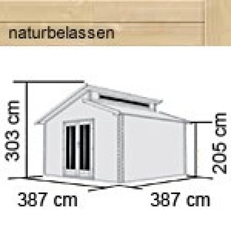 Karibu Holz-Gartenhaus Värmland 2 Stufendach 28 mm Massiv - natur