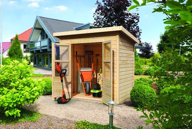 Karibu Holz-Gartenhaus Merseburg 3 - 14 mm Pultdach im Steck- und Schraubsystem - naturbelassen