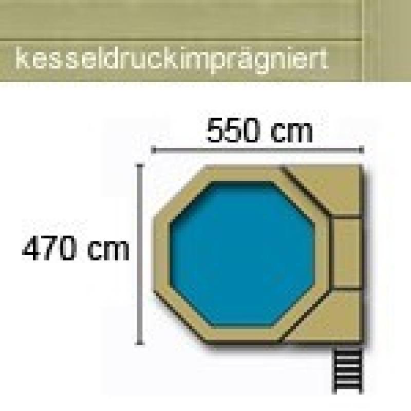 Karibu Holzpool Swimmingpool Achteck Modell D2  470 x 550 cm - kdi - inkl. Sonnenterrasse