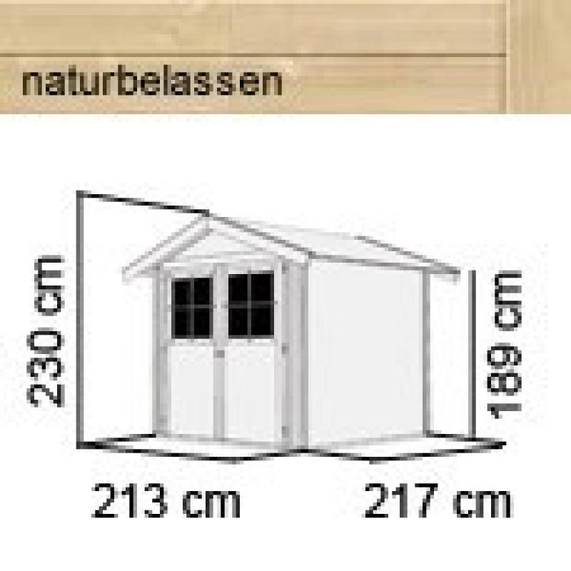 Karibu Gartenhaus Harburg 3 - 19 mm Schraub- Stecksystem   - naturbelassen