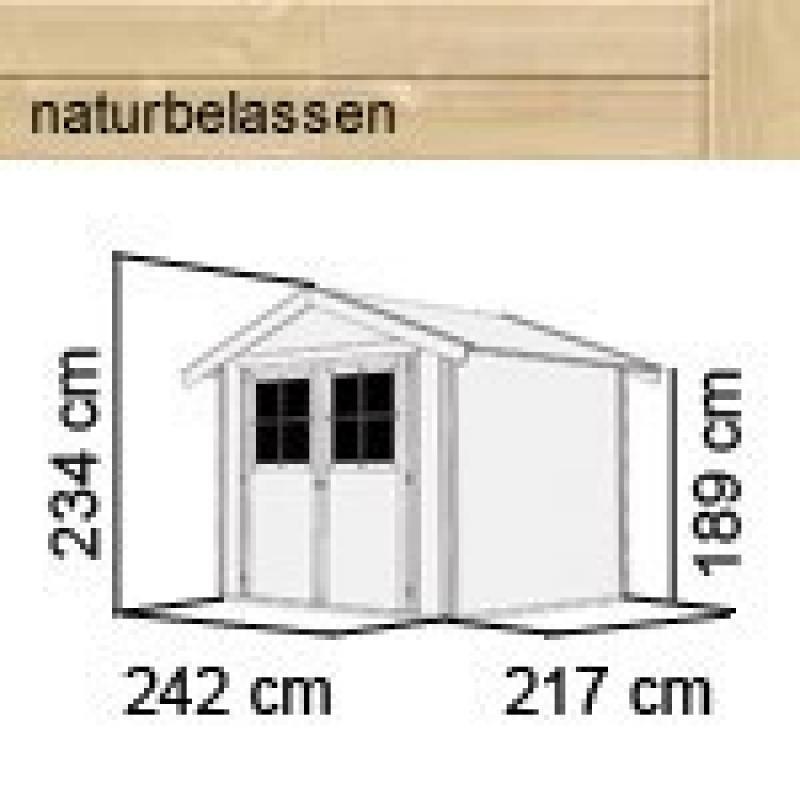 Karibu Gartenhaus Harburg 4 - 19 mm Schraub- Stecksystem   - naturbelassen