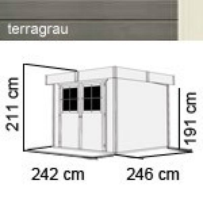 Karibu Gartenhaus Limburg 5 - 19 mm Flachdach Schraub- Stecksystem - terragrau
