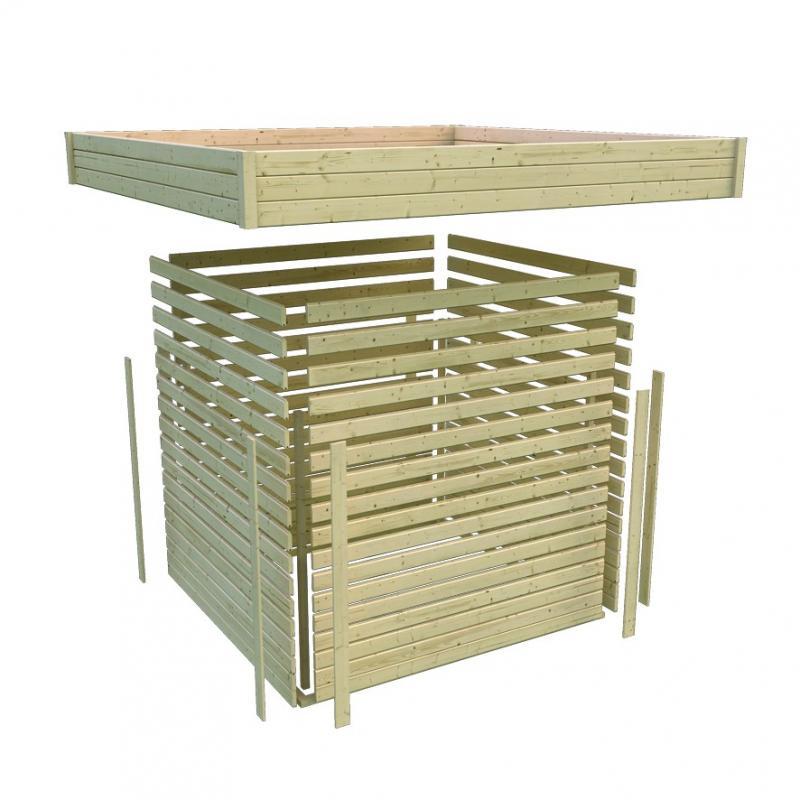 Karibu Gartenhaus Multi Cube 3 Flachdach 28 mm System - terragrau inkl. EPDM Folie