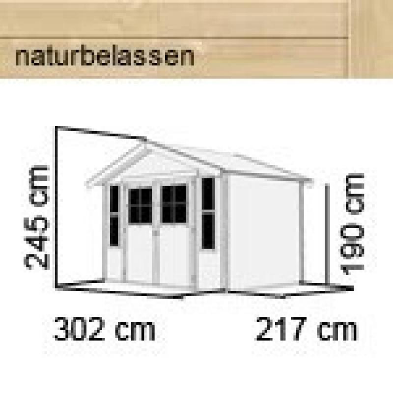 Karibu Gartenhaus Auburg 6 - 19 mm Satteldach Schraub- Stecksystem - naturbelassen