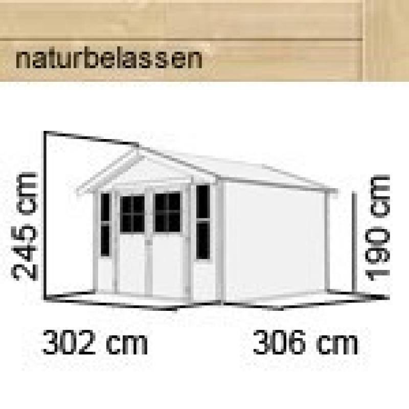 Karibu Holz-Gartenhaus Auburg 7 - 19 mm Satteldach Schraub- Stecksystem - naturbelassen
