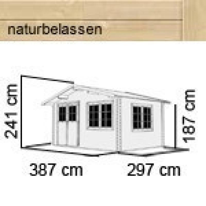 Karibu Gartenhaus Hardenberg 1 + Vordach Satteldach 28 mm Massiv - natur