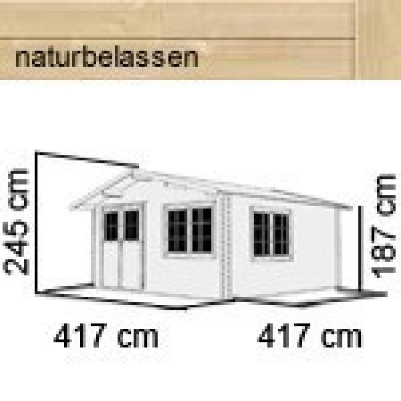Karibu Gartenhaus Hardenberg 2 + Vordach Satteldach 28 mm Massiv - natur