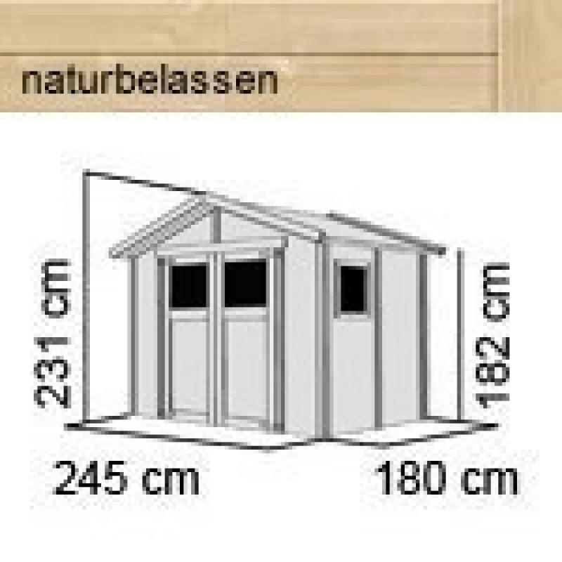 Karibu Gartenhaus Dalin 1 14 mm Gerätehaus in Systembauweise - naturbelassen