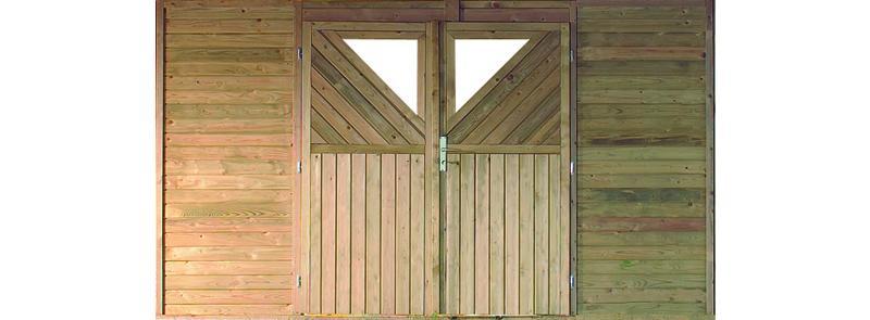 Karibu Rückwand-Element mit Doppeltür für Einzelcarport