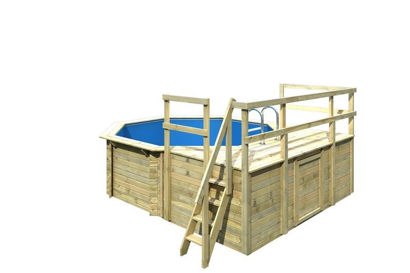 Karibu Holzpool Swimmingpool Achteck Modell D1  400 x 400 cm - kdi - inkl. Sonnenterrasse