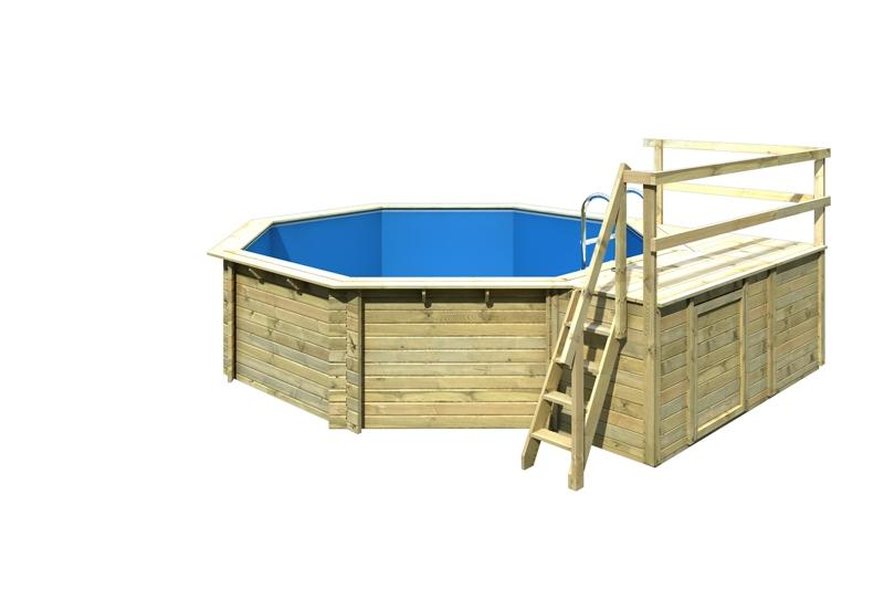 Karibu Pool Holz Swimmingpool Achteck Modell C2  470 x 550 cm - kdi - inkl. Sonnenterrasse
