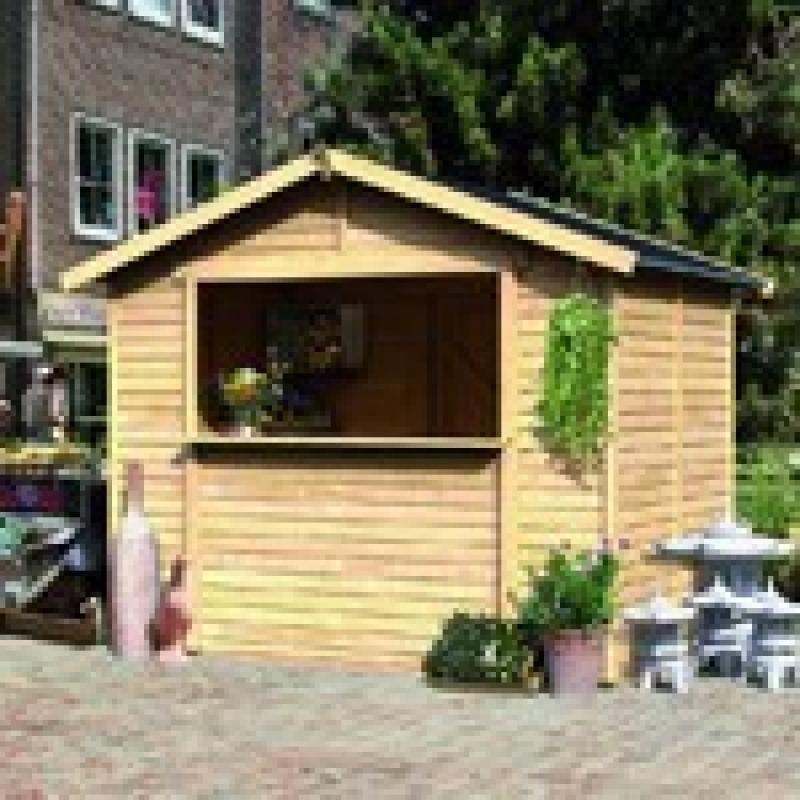 Woodfeeling Marktstand (181 x 181 x 262 cm) mit Satteldach 19 mm Element - natur