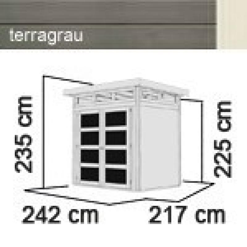 Karibu Holz-Gartenhaus Sommersdorf  4 - 19 mm Flachdach Schraub- Stecksystem - terragrau