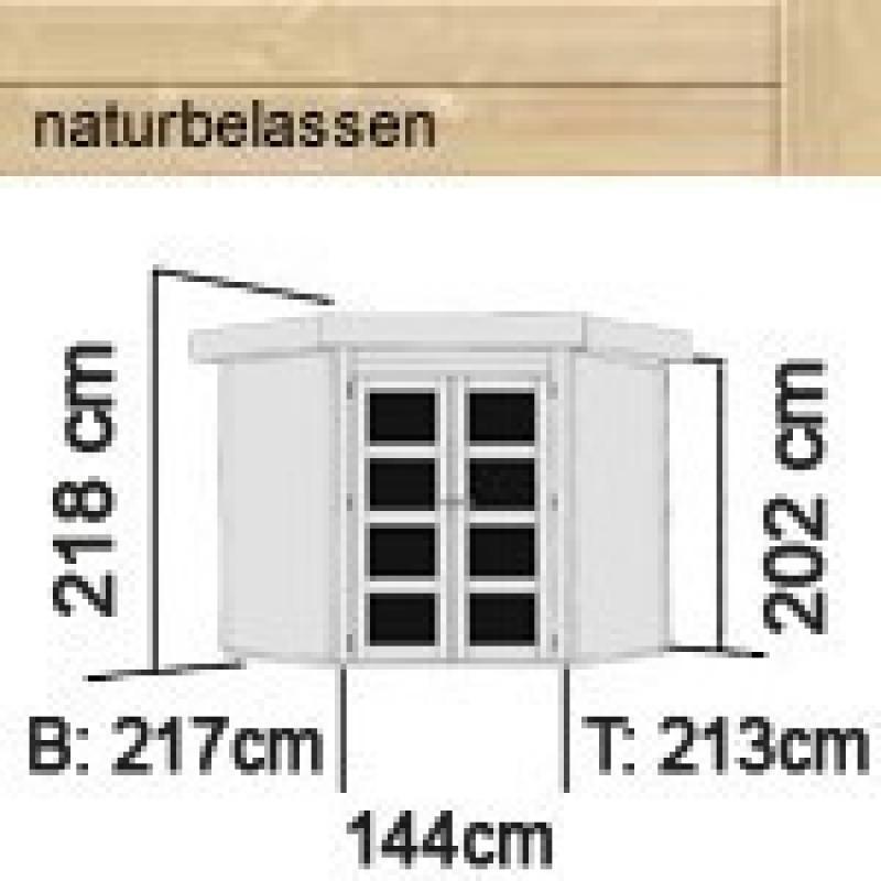 Karibu Holz-Gartenhaus Goldendorf 3 - 19 mm Flachdach Schraub- Stecksystem - terragrau