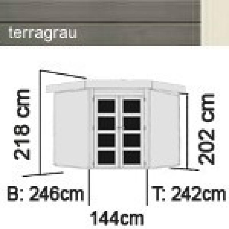 Karibu Gartenhaus Goldendorf 5 - 19 mm Flachdach Schraub- Stecksystem - terragrau