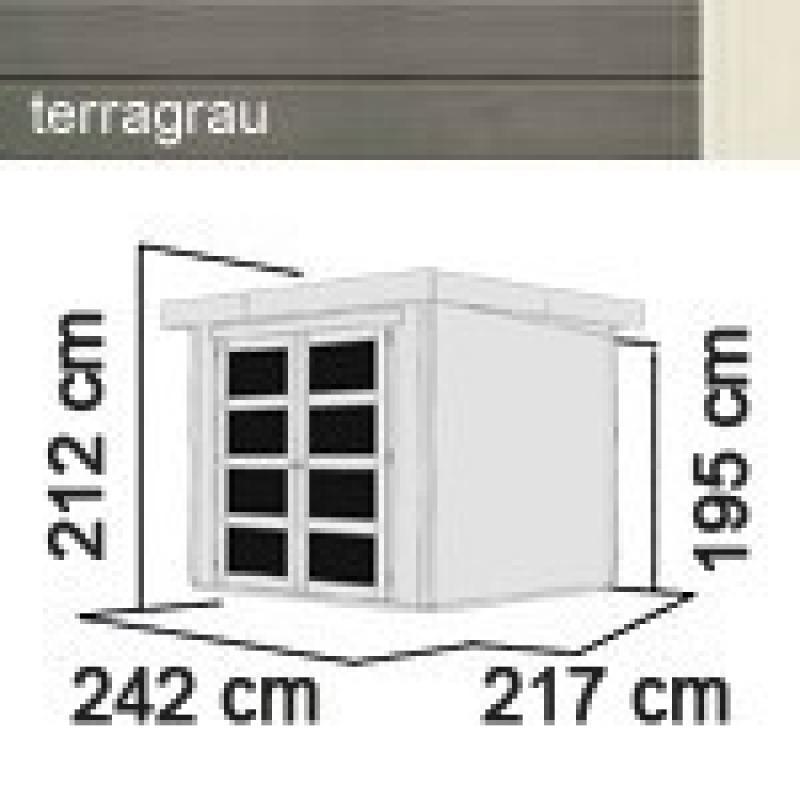 Karibu Gartenhaus Mühlendorf 3 - 19 mm Flachdach Schraub- Stecksystem - terragrau