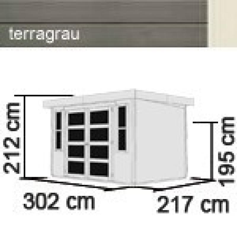 Karibu Gartenhaus Mühlendorf 4 - 19 mm Flachdach Schraub- Stecksystem - terragrau