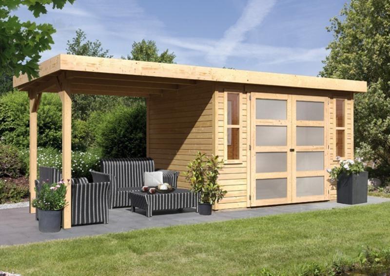 Karibu Holz-Gartenhaus Mühlendorf 5 - 19 mm Flachdach Schraub- Stecksystem - naturbelassen