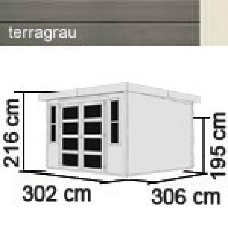 Karibu Holz-Gartenhaus Mühlendorf 5 - 19 mm Flachdach Schraub- Stecksystem - terragrau